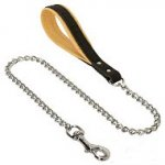 German Shepherd Chain Dog Lead with Leather Handle