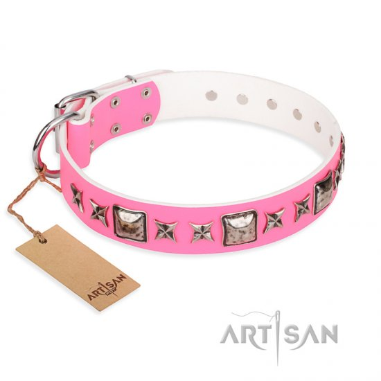 """Lady in Pink"" FDT Artisan Extravagant Leather Collar for German Shepherd Girl"