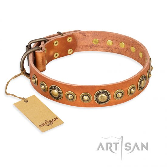 'Feast of Luxury' FDT Artisan German Shepherd Tan Leather Dog Collar with Old Bronze-Like Plated Studs - 1 1/2 inch (40 mm) wide