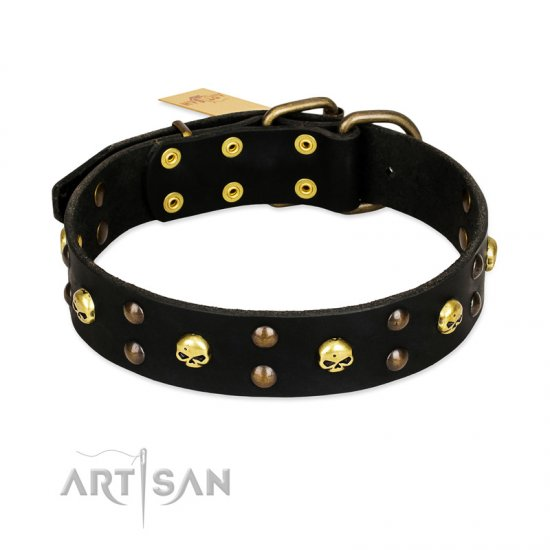 FDT Artisan 'Heavy Metal' Leather German Shepherd Collar with Skulls and Studs 1 1/2 inch (40 mm)