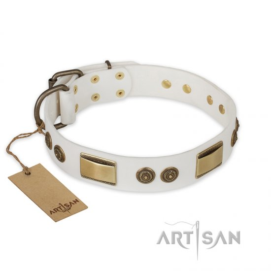 'Golden Avalanche' FDT Artisan White Leather German Shepherd Dog Collar with Plates and Circles - 1 1/2 inch (40 mm) wide