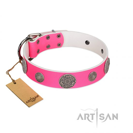 """Pink Elegance"" Designer Handmade FDT Artisan Pink Leather German Shepherd Collar"