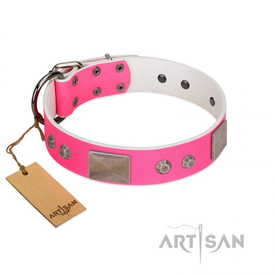 """Pink Blush"" Premium Quality FDT Artisan Pink Designer German Shepherd Collar with Plates and Studs"