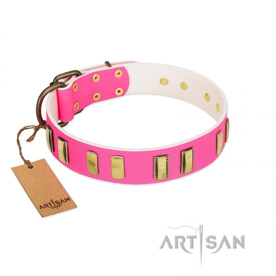 """Rubicund Frill"" FDT Artisan Pink Leather German Shepherd Collar with Engraved and Smooth Plates"