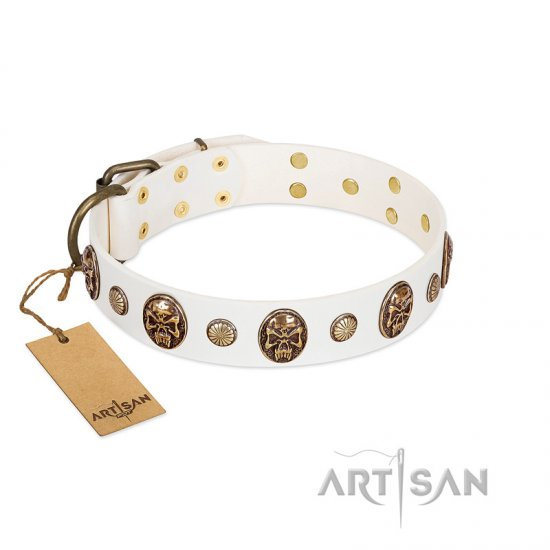"""Fatal Beauty"" FDT Artisan White Leather German Shepherd Collar with Old Bronze-like Studs and Oval Brooches"