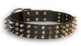 Fashionable Leather Collar with Nickel Spikes and Brass Studs for German Shepherd