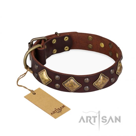 'Golden Square' FDT Artisan Brown Leather German Shepherd Collar with Large Squares - 1 1/2 inch (40 mm) wide