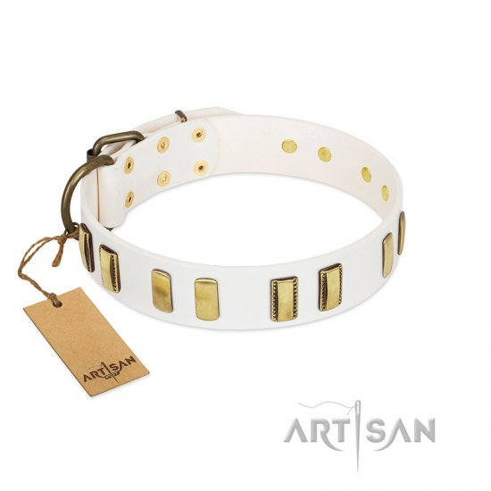 """Glorious Light"" FDT Artisan White Leather German Shepherd Collar with Old Bronze-like Plates"