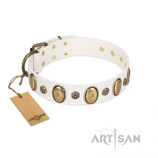 """Nifty Doodad"" FDT Artisan White Leather German Shepherd Collar with Amazing Large Ovals and Small Studs"