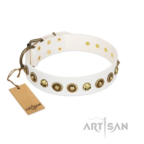 """Wondrous Venture"" FDT Artisan White Leather German Shepherd Collar with Skulls and Brooches"