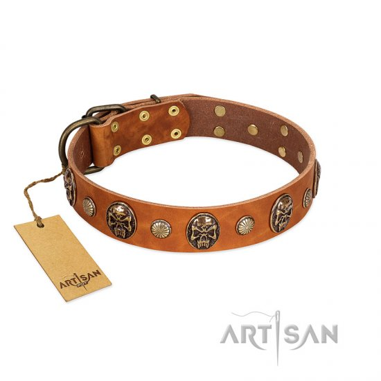 """Call of Feat"" FDT Artisan Tan Leather German Shepherd Collar with Old Bronze-like Studs and Oval Brooches"