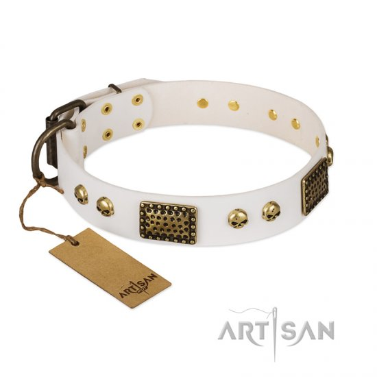"""Lost Treasures"" FDT Artisan White Leather German Shepherd Collar with Old Bronze Look Plates and Skulls"