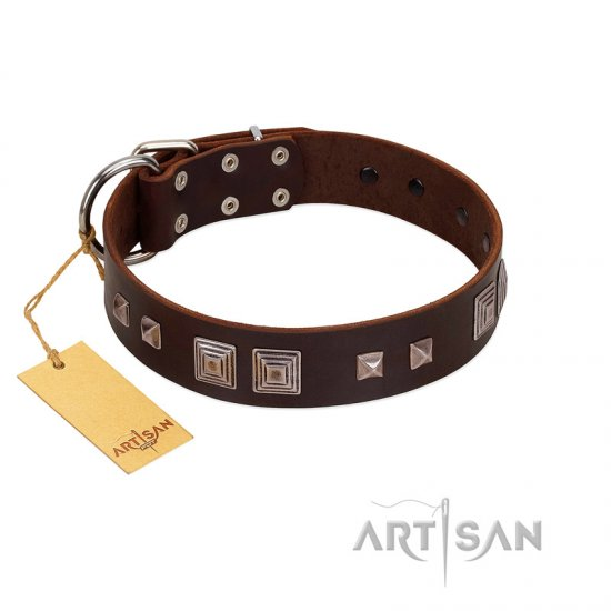 """Object of Virtu"" FDT Artisan Brown Leather German Shepherd Collar with Old Silver-like Square Studs and Pyramids"