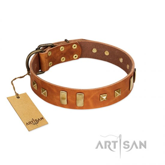 """Sand of Time"" FDT Artisan Tan Leather German Shepherd Collar with Old Bronze-like Studs and Plates"