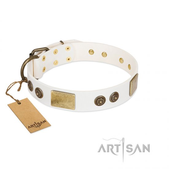 """Sweet Melody"" FDT Artisan White Leather German Shepherd Collar with Plates and Ornamented Studs"