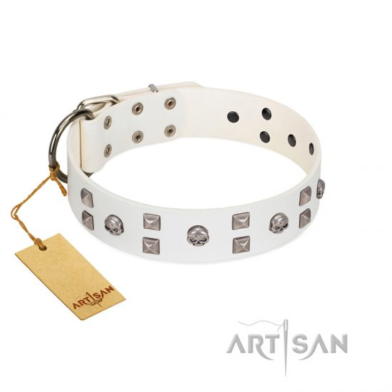 """Rock the Sky"" Durable FDT Artisan White Leather German Shepherd Collar with Chrome-plated Decorations"