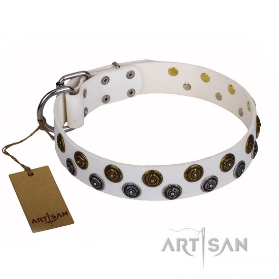 """Snowflake"" FDT Artisan White Leather German Shepherd Collar with Sparkling Circles"