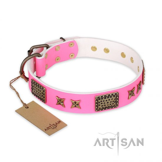 'Tender Pink' FDT Artisan German Shepherd Leather Dog Collar with Old Bronze Look Stars and Plates - 1 1/2 inch (40 mm) wide