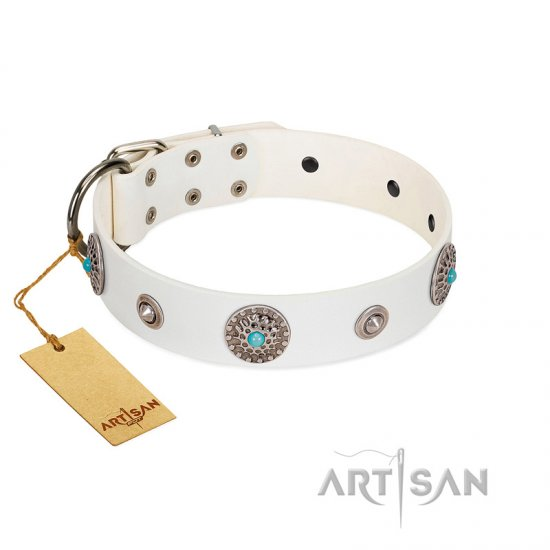 """Lush Life"" Designer Handcrafted FDT Artisan White Leather German Shepherd Collar with Blue Stones"