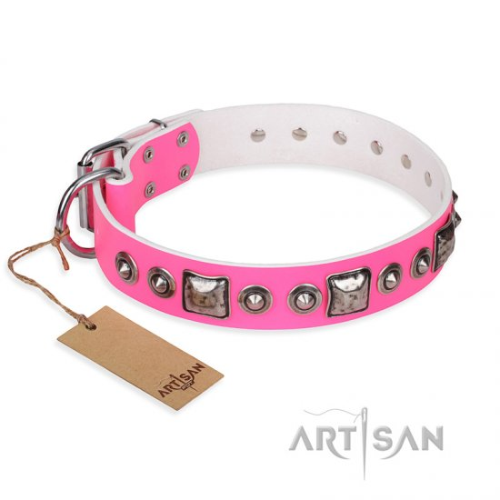 'Juicy Pink' German Shepherd Studded Leather Dog Collar with Decorations