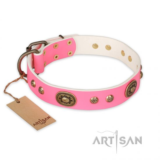 'Sensational Beauty' Handcrafted FDT Artisan Pink Leather Collar for Female German Shepherd