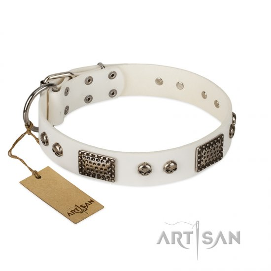 """Terrific Beauty"" FDT Artisan Beguiling White Leather German Shepherd Collar"