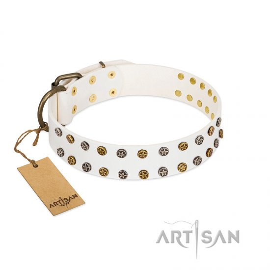 """Crystal Night"" FDT Artisan White Leather German Shepherd Collar with Two Rows of Small Studs"