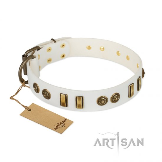 """Midsummer Snow"" FDT Artisan White Leather German Shepherd Collar with Old Bronze-like Plates and Circles"