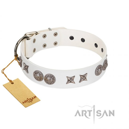 """Seventh Heavens"" FDT Artisan White Leather German Shepherd Collar with Chrome-plated Stars and Engraved Brooches"