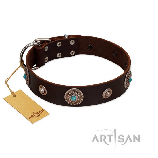 """Magic Stones"" FDT Artisan Brown Leather German Shepherd Collar with Chrome Plated Brooches and Studs"