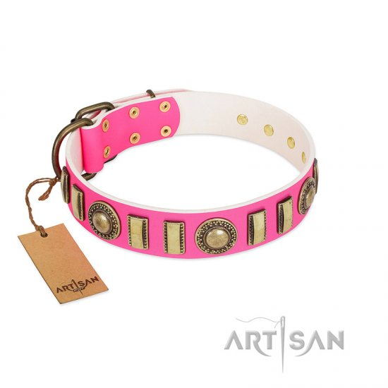 """La Femme"" FDT Artisan Pink Leather German Shepherd Collar with Ornate Brooches and Small Plates"