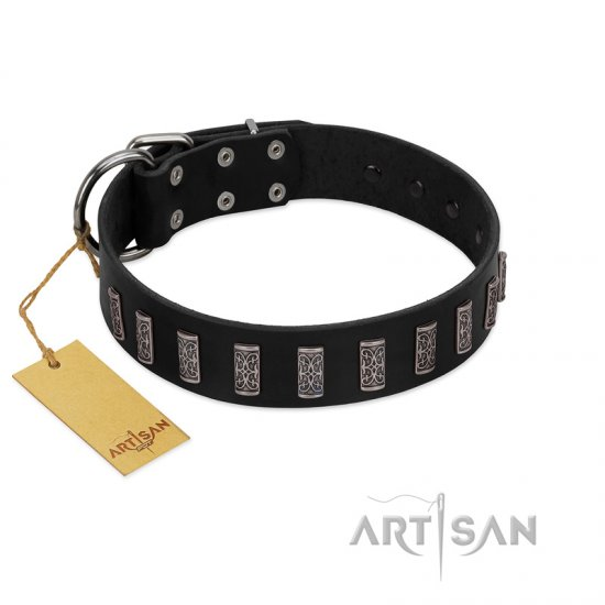 """Black Prince"" Handmade FDT Artisan Black Leather German Shepherd Collar with Silver-Like Adornments"