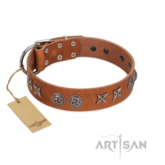 """Brave Spirit"" Handmade FDT Artisan Designer Tan Leather German Shepherd Collar with Shields"