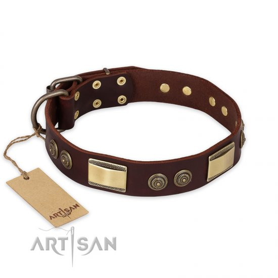 """Golden Stones"" FDT Artisan Brown Leather German Shepherd Collar with Old Bronze Look Adornment - 1 1/2 inch (40 mm) wide"