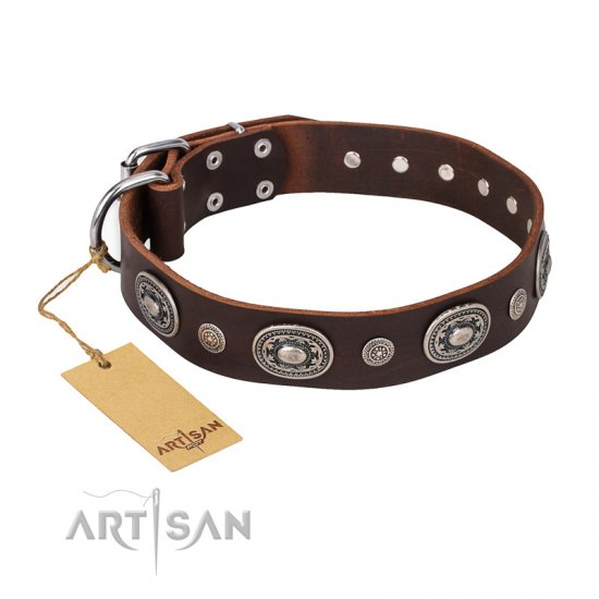 'Extra Pizzazz' FDT Artisan Adorned Brown Leather German Shepherd Collar
