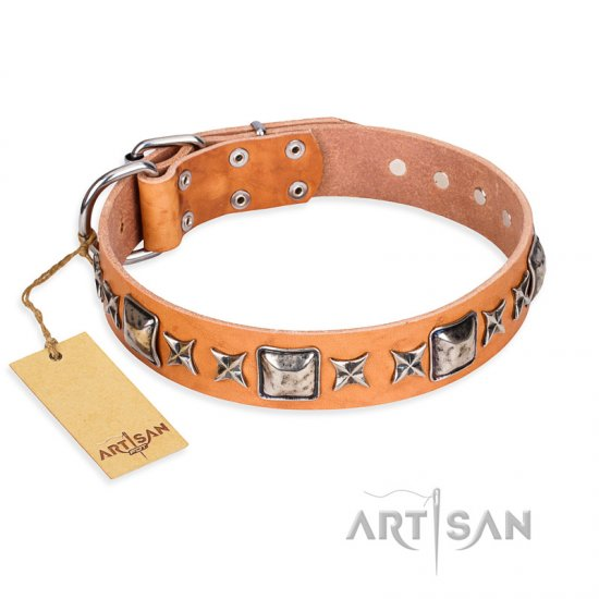 'Silver Chic' FDT Artisan Tan Leather German Shepherd Collar with Silvery-plated Decorations