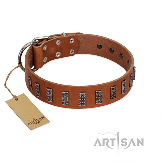 """Silver Century"" Fashionable FDT Artisan Tan Leather German Shepherd Collar with Silver-Like Plates"
