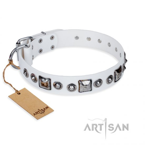 'Lustre of Fame' FDT Artisan White Studded Leather German Shepherd Dog Collar