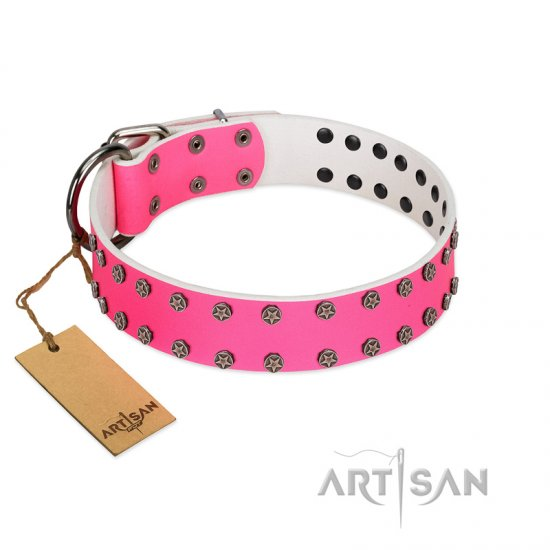 """Pink Fashion"" Designer FDT Artisan Pink Leather German Shepherd Collar with Silver-Like Studs"