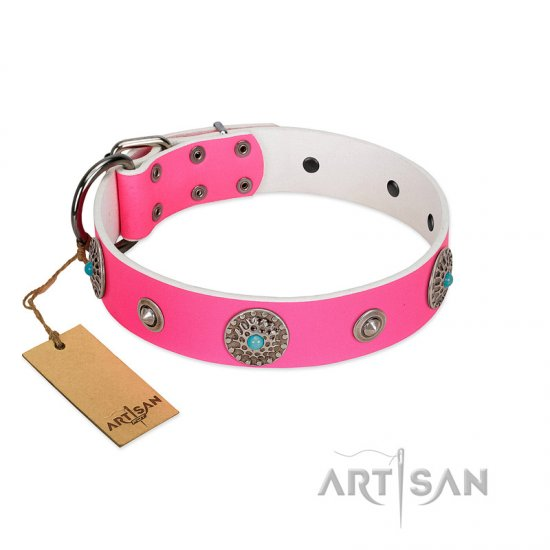 """Chili Mood"" Designer Handmade FDT Artisan Pink Leather German Shepherd Collar"