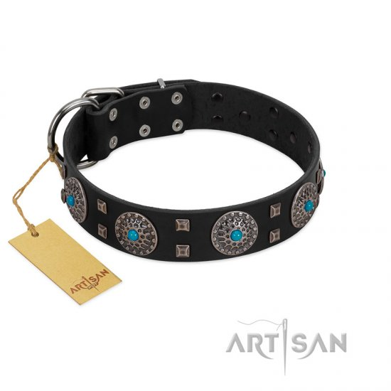 """Boundless Blue"" FDT Artisan Black Leather German Shepherd Collar with Chrome Plated Brooches and Square Studs"