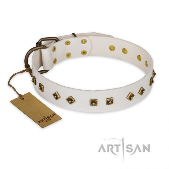 'Snow Cloud' FDT Artisan White Leather German Shepherd Collar with Square and Rhomb Studs