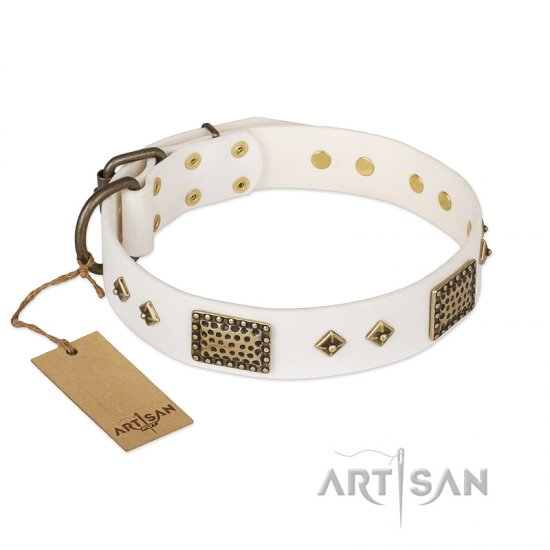 'Snow-covered Gold' FDT Artisan White Leather German Shepherd Collar - 1 1/2 inch (40mm) wide