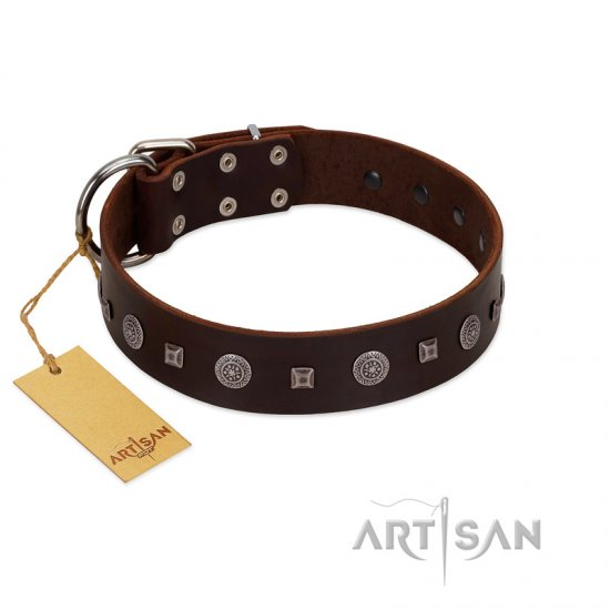"""Pure Sensation"" Exclusive FDT Artisan Brown Leather German Shepherd Collar with Fancy Brooches and Studs"