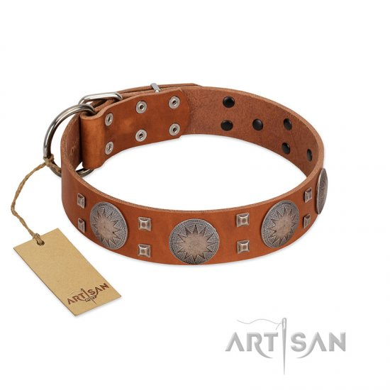 """Sun Rise Noon"" FDT Artisan Tan Leather German Shepherd Collar with Unique Design"