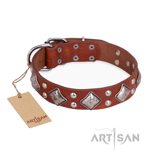 """Magic Squares"" FDT Artisan Comfortable Tan Leather German Shepherd Collar"