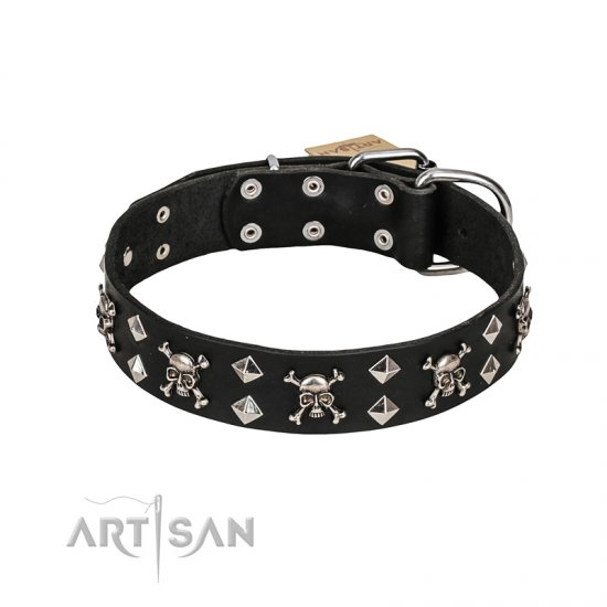 FDT Artisan 'Rock 'n' Roll Style' Leather German Shepherd Collar with Skulls, Bones and Studs 1 1/2 inch (40 mm) wide