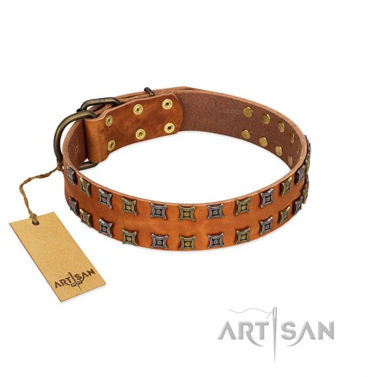 """Terra-cotta"" FDT Artisan Tan Leather German Shepherd Collar with Two Rows of Studs"