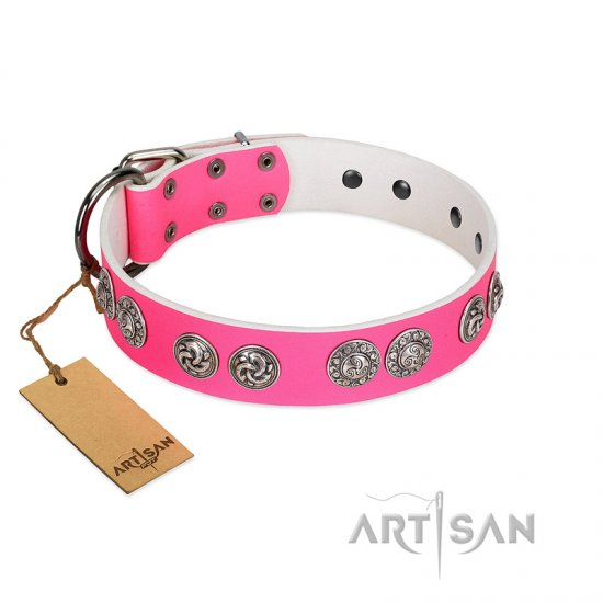 """Periapt of Power"" FDT Artisan Pink Leather German Shepherd Collar with Chrome Plated Medallions"