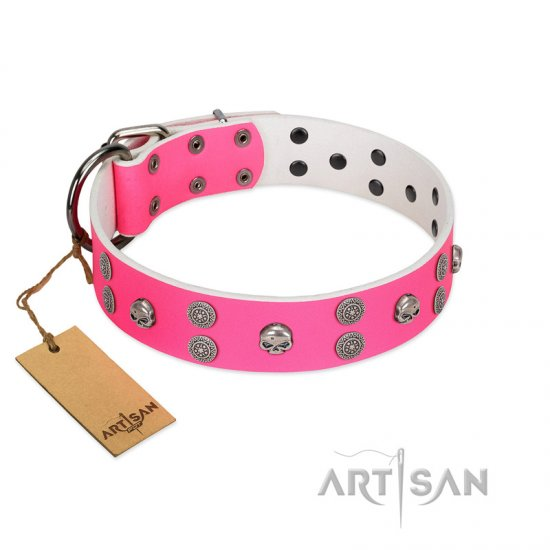 """Spiffy Style"" Handcrafted FDT Artisan Pink Leather German Shepherd Collar with Skulls"